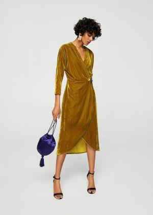 Aksamitna Sukienka Zakładana Tkanina Mango 269, 90 Zł