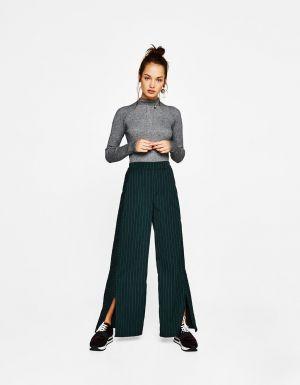 Prążkowany Sweter Z Półgolfem Bershka 49,90 Zł