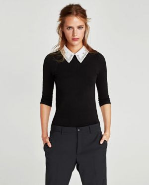 Sweter Z Odpinanym Kołnierzykiem Zara 99.90 Zł