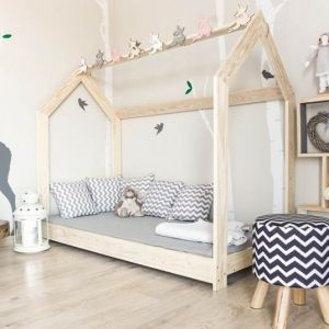 Drewniane Łóżko Domek Naturalny
