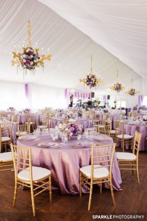 Lawendowe dekoracje - sala weselna