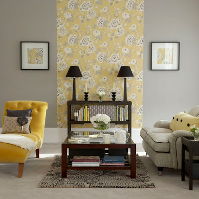 yellow-gray-living-floral-focal-wall-paper-modern-contemporary-living-room-look-simplistic-decor-idea-spring-summer-wall-design-inspiration