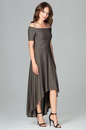 Asymetryczna Sukienka Wieczorowa Z Falbanami - Oliwkowa 179,00 Zł