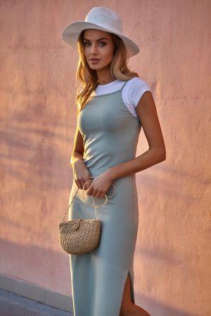 Bawełniana Sukienka Maxi Na Ramiączkach - Pistacjowa 139,00 Zł
