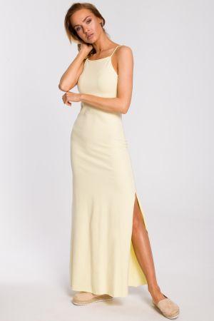 Bawełniana Sukienka Maxi Na Ramiączkach - żółta 139,00 Zł