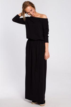 Bawełniana Sukienka Maxi Z Paskiem W Talii - Czarna 159,00 Zł