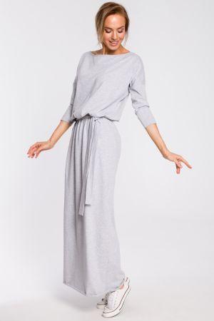 Bawełniana Sukienka Maxi Z Paskiem W Talii - Szara 159,00 Zł
