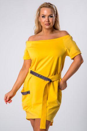 Bawełniana Sukienka Z Wiązaniem W Pasie I Ekspresami Na Rękawach 188 Zł