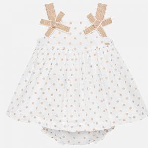 Biała Sukienka Mayoral W Złote Groszki Dla Dziewczynki