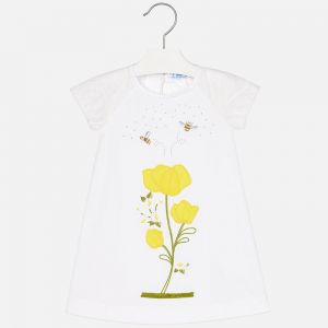 Biała Sukienka Mayoral Z Haftowanymi Kwiatami Dla Dziewczynki