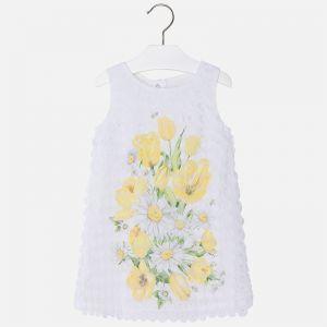 Biała Sukienka Mayoral Z Motywem Kwiatowym Dla Dziewczynki