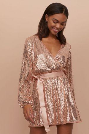 Cekinowa Sukienka W Serek 229,99 Zł H&M