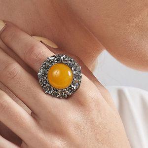 Corine Okwiecony Srebrny Pierścień Z żółtym Agatem