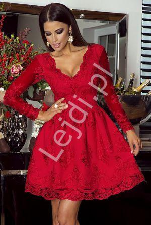 Czerwona Sukienka, Rozkloszowana Koronkowa - Amelia