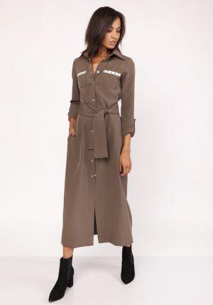 Długa Militarna Sukienka - Khaki 179,00 Zł