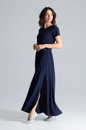 Długa Sukienka Maxi Z Krótkim Rękawem - Granatowa 209,00 Zł