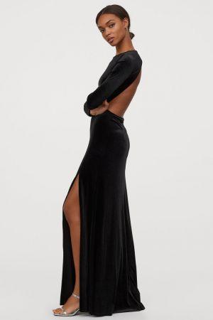 Długa Sukienka Welurowa 199,99 ZŁ H&m
