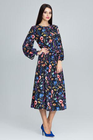 Długa Sukienka Z Gumką W Pasie 179,00 Zł