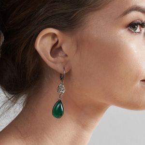 Długie Eleganckie Kolczyki Z Zielonymi Agatami Felicia