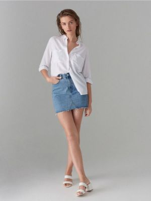 Jeansowa Mini Spódnica, Mohito 79,99 Zł