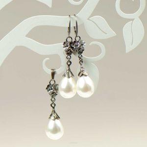 Komplet Srebrny Emma Z Perłami Seashell  396 Zł