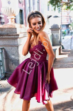 Koronkowa Sukienka Z Organzową Spódnicą