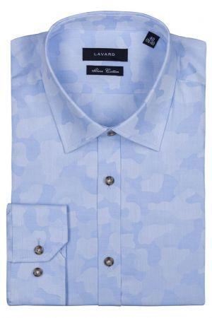 Koszula W Błękitny Wzór Moro Z Lamówką  199,00 Zł