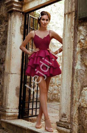 Krótka Sukienka Piankowa W Kolorze Bordowym