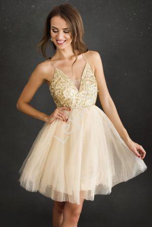 Krótka Złota Sukienka Z Brokatem Na Cienkich Ramiączkach