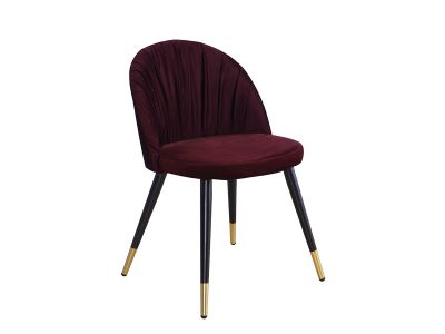 Krzesło Tapicerowane Aksamitem Audrey Czarno Złote Nogi