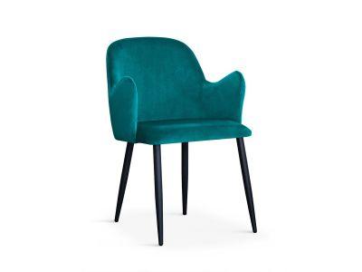 Krzesło Tapicerowane Aksamitem Dove Czarne Nogi