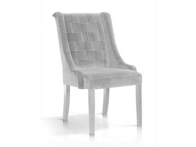 Krzesło Tapicerowane Aksamitem Duke Białe Nogi