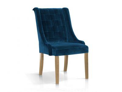 Krzesło Tapicerowane Aksamitem Duke Nogi W Kolorze Dębu