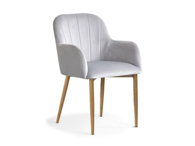 Krzesło Tapicerowane Aksamitem Edith Nogi W Kolorze Dębu