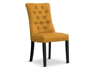 Krzesło Tapicerowane Aksamitem Harry Premium Czarne Nogi
