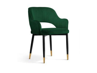 Krzesło Tapicerowane Aksamitem Isabell Czarno Złote Nogi
