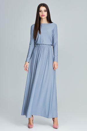 Prosta Sukienka Maxi Z Długim Rękawem