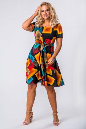 Rozkloszowana Sukienka Z Krótkim Rękawem I Wiązaniem W Pasie 136 Zł