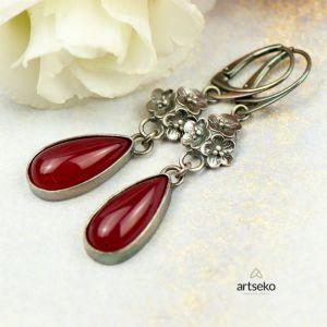 Srebrne Kolczyki Kwiatuszki Z Czerwonym Agatem Carmen 380 Zł Artseko