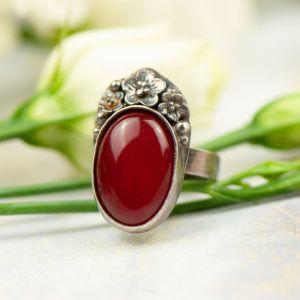 Srebrny Pierścionek Z Czerwonym Jadeitem Carmen 280 Zł Artseko