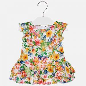 Sukienka Mayoral Z Falbanki W Tropikalne Kwiaty Dla Dziewczynki