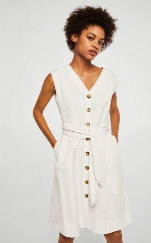 Sukienka Bawełniana Wiązana W Talii 139,90 MANGO