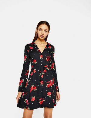 Sukienka Koszulowa Z Nadrukiem Bershka 119,00 Zł