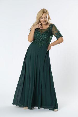 Sukienka Maxi Z Haftowaną Górą Z Błyszczącymi Kryształkami I Rękawem458 Zł