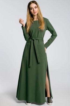Sukienka Maxi Z Rozcięciem Na Udo - Militarno  159,00 Zł