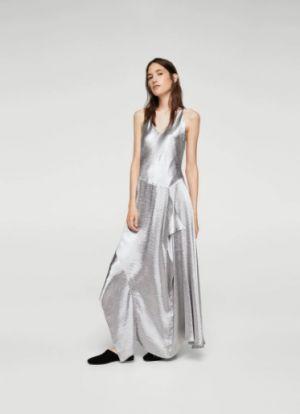 Sukienka W Metalicznym Kolorze Z Falbanką Mango 299,90 Zł