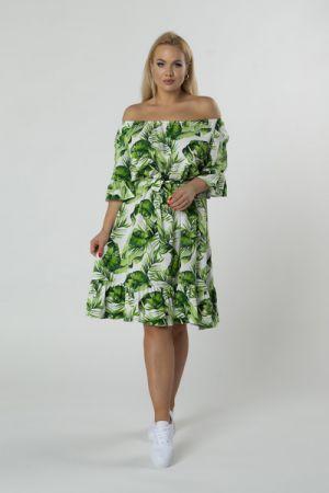 Sukienka Z Hiszpańskim Dekoltem, Falbanami I Wiązaniem W Pasie 186 Zł