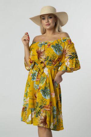Sukienka Z Hiszpańskim Dekoltem, Falbanami I Wiązaniem W Pasie Musztardowa 186 Zł