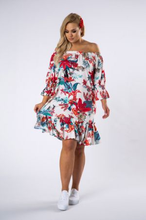 Sukienka Z Hiszpańskim Dekoltem I Falbanami Na Dole 125 Zł