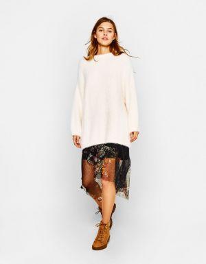 Sweter Oversize Ze Sztucznego Futerka Bershka 109, 00 Zł